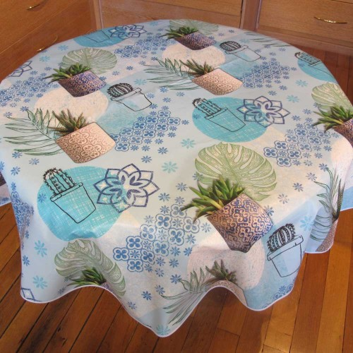 NAPPE RONDE PLASTIFIEE AGAVE BLEU - NYDEL